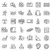 School subjects, icon set. Editable stroke