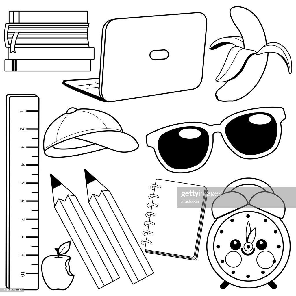 School supplies. Black and white coloring book page