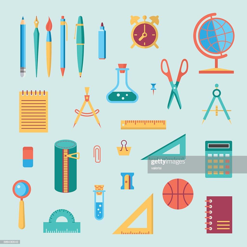 School supplies color icon set
