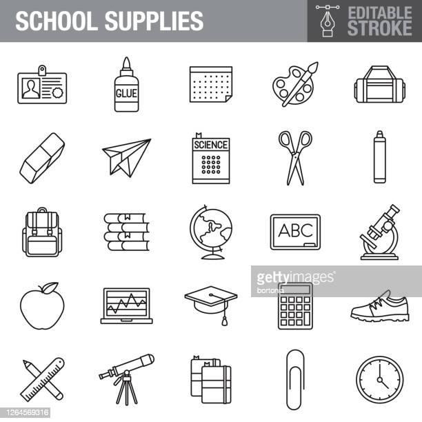 school supplies editable stroke icon set - educational subject stock illustrations