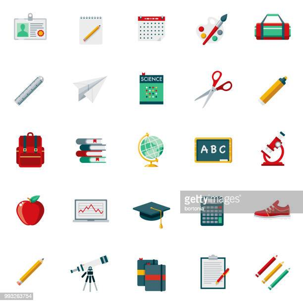 school supplies flat design icon set - group of objects stock illustrations