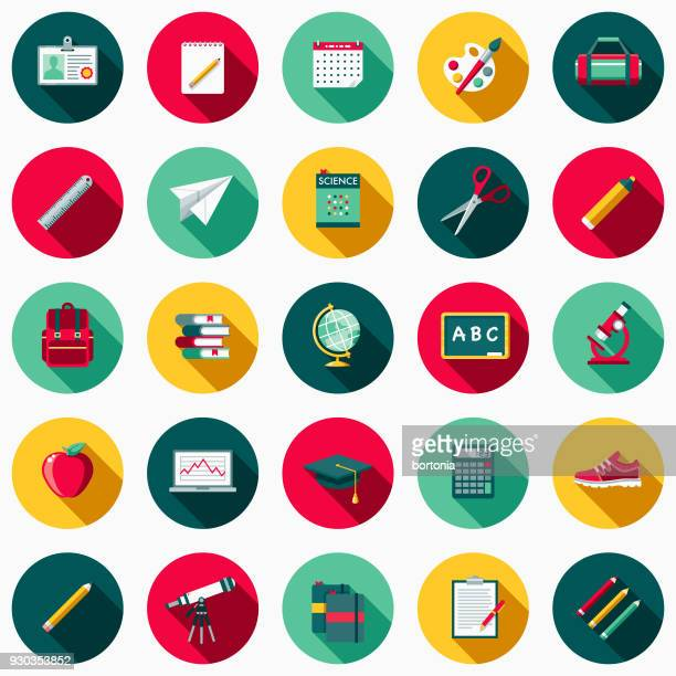 school supplies flat design icon set with side shadow - ruler stock illustrations