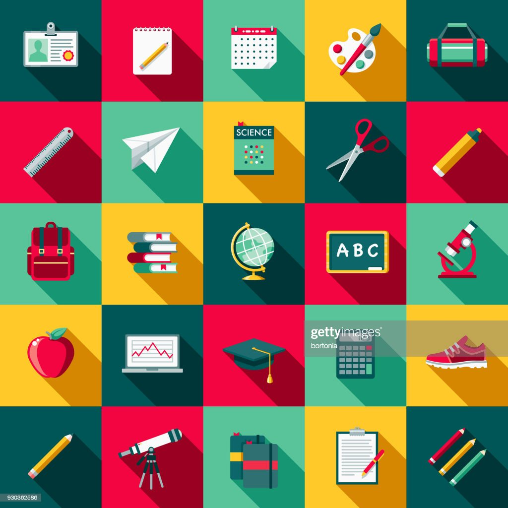 School Supplies Flat Design Icon Set with Side Shadow : stock illustration