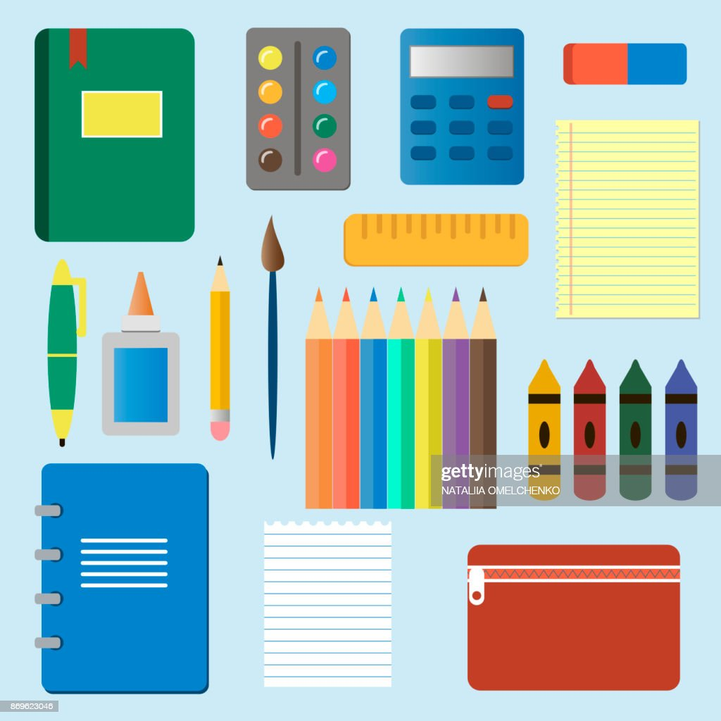School supplies from student's backpack