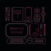 School Supplies neon colors