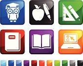 school Supplies royalty free vector icon set stickers