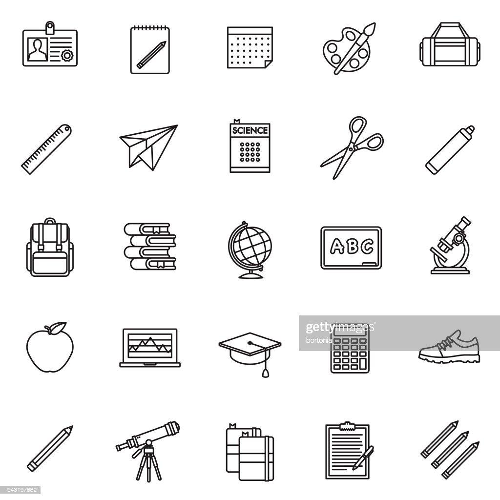 School Supplies Thin Line Icon Set