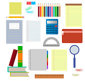 School supplies. Vector flat illustration