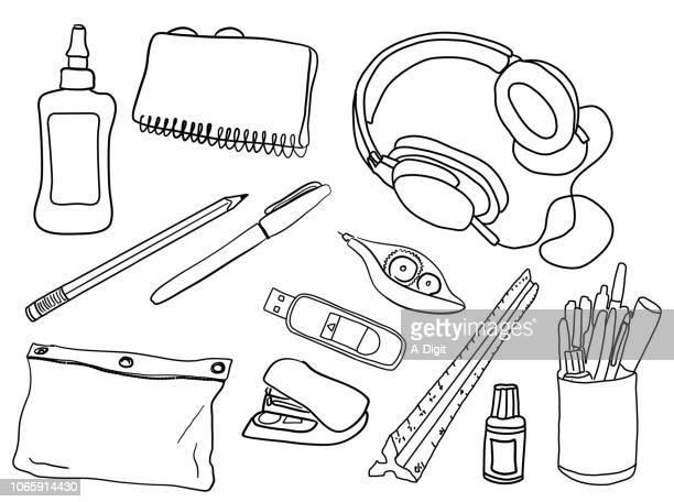 school supplies - desk organizer stock illustrations, clip art, cartoons, & icons