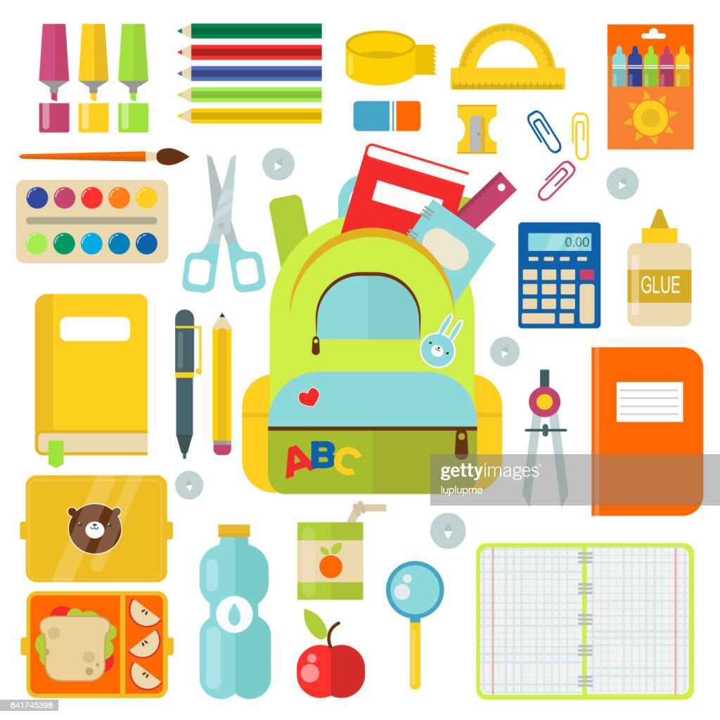 School supplies vector illustration isolated on white