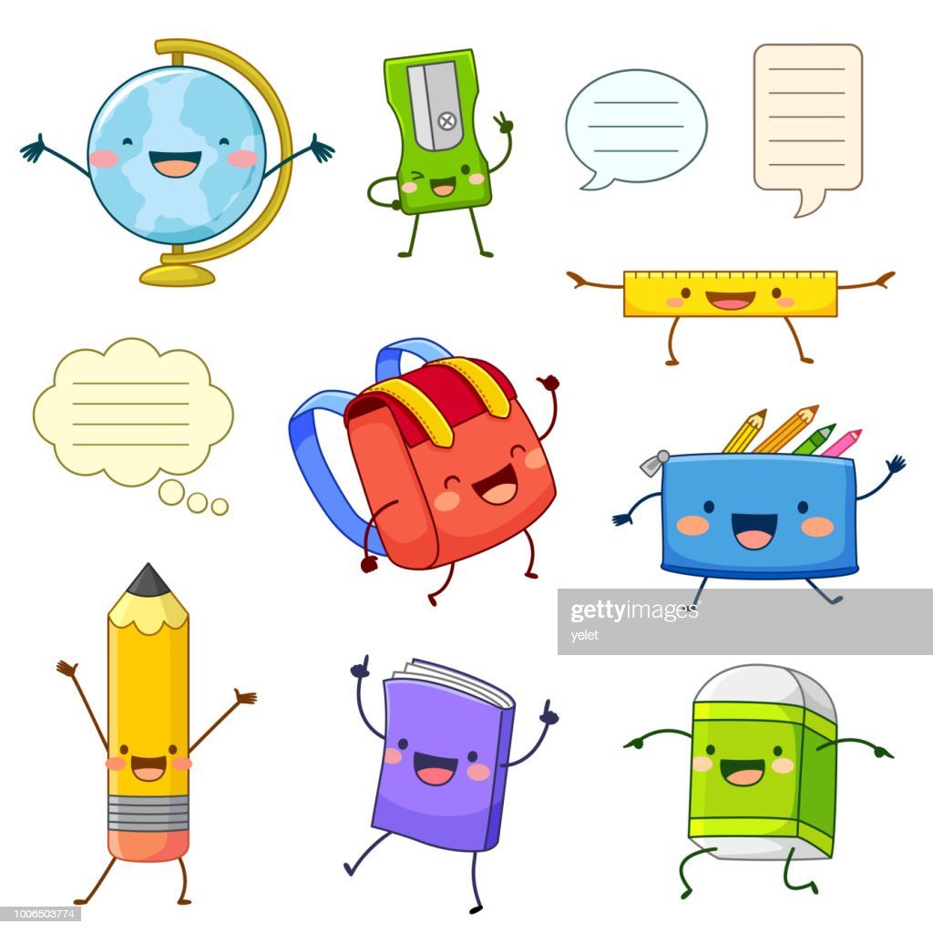 School supply cartoon characters