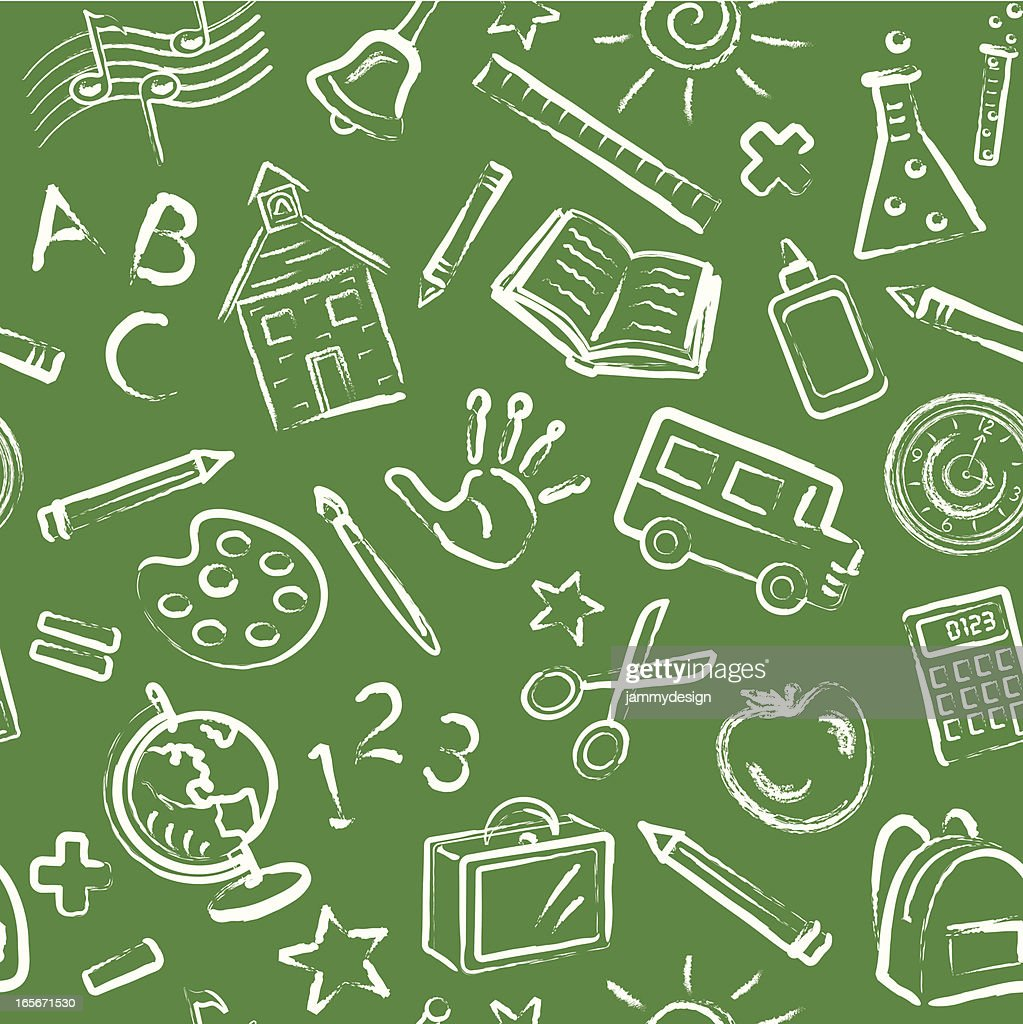School Symbols Blackboard Seamless Pattern