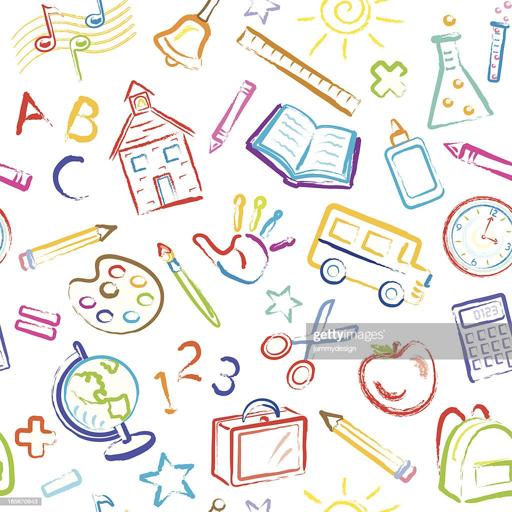 School Symbols Seamless Pattern : stock illustration