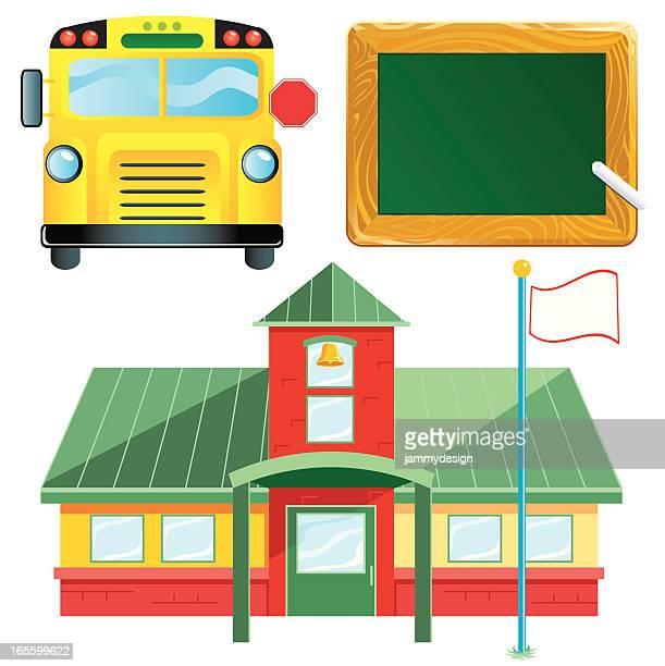 ilustraciones, imágenes clip art, dibujos animados e iconos de stock de escuela de símbolos - edificio de escuela primaria