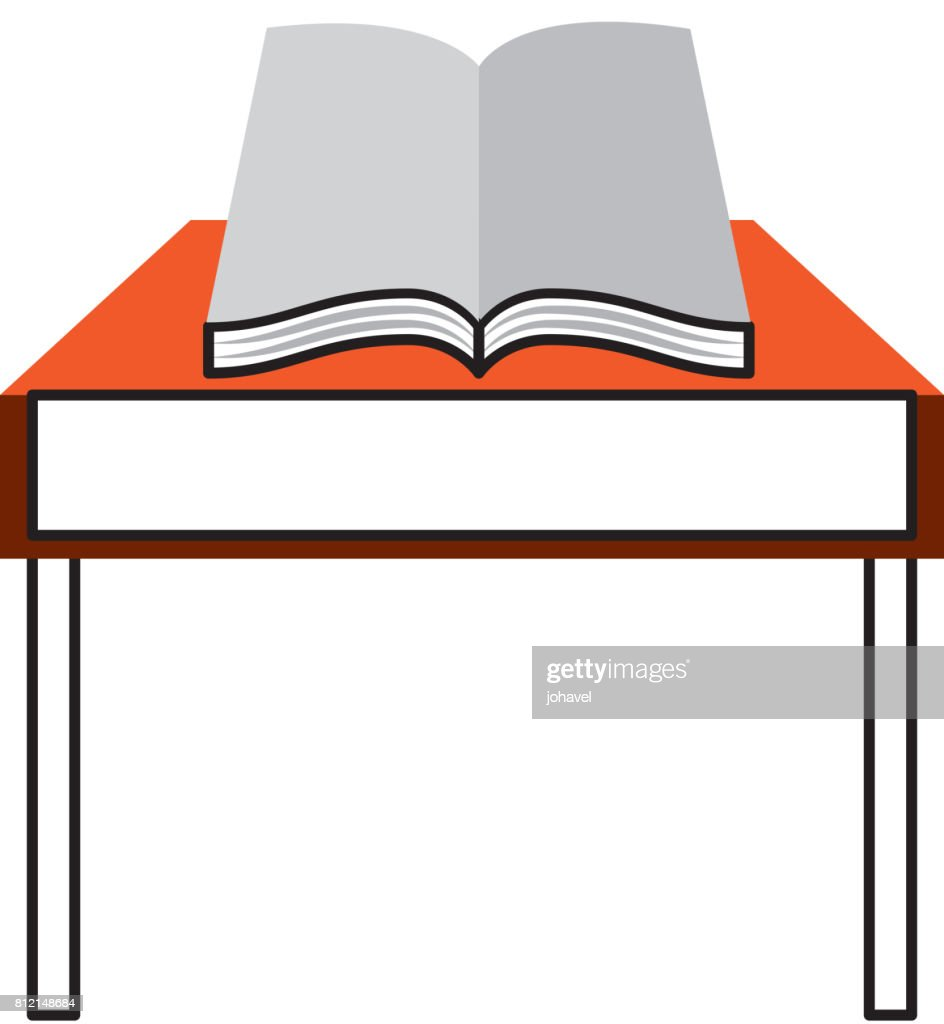 school table with book isolated icon