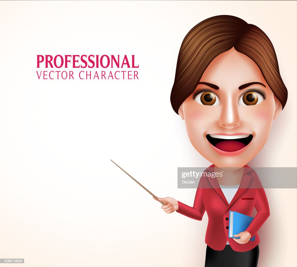 School Teacher Vector Character Smiling Holding Books while Teaching Lessons