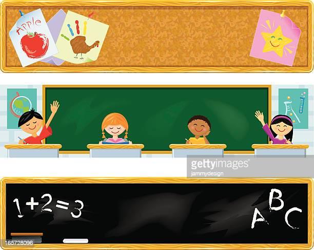 ilustraciones, imágenes clip art, dibujos animados e iconos de stock de escuela tema banners - alzar los brazos
