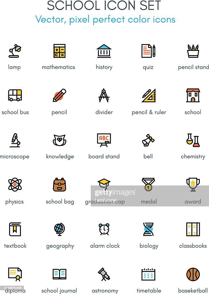 School theme line icon set.
