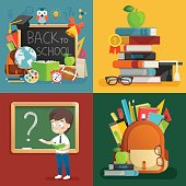 School theme set. Back to school, backpack, schoolboy and other elements.