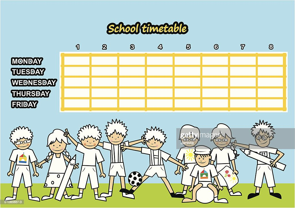 School timetable, coloring book