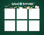 School timetable template with chalkboard background and school supplies.