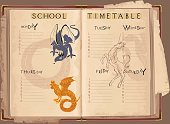 School timetable with mythological creatures