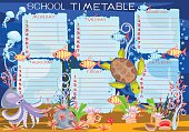 School timetable with sea turtle