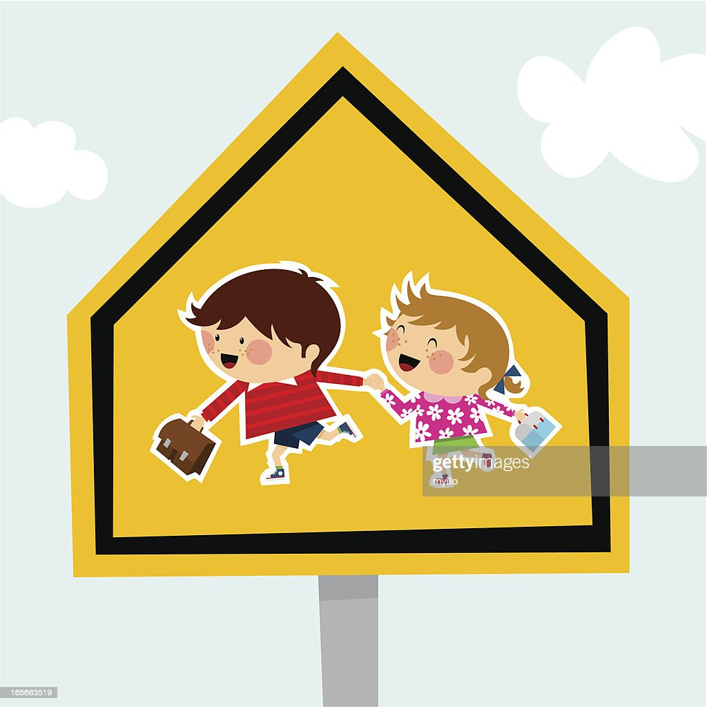 school traffic sign schoolboy schoolgirl backtoschool illustration vector : stock illustration