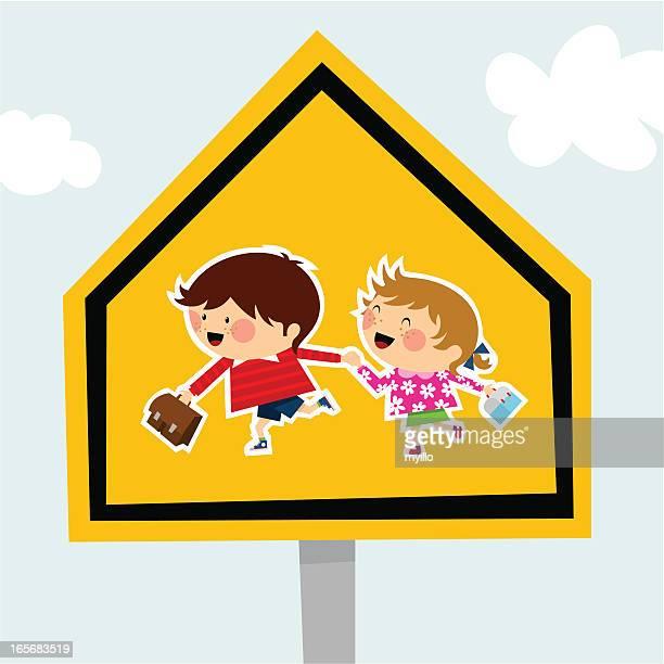 school traffic sign schoolboy schoolgirl backtoschool illustration vector