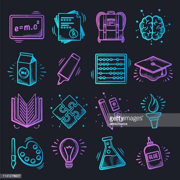 ilustrações, clipart, desenhos animados e ícones de escola de formação e prática neon doodle estilo vector icon set - estudando
