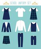 School Uniforms for Children. Kids Clothes Vector Set