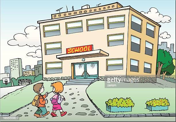 ilustraciones, imágenes clip art, dibujos animados e iconos de stock de escuela secundaria - edificio de escuela primaria