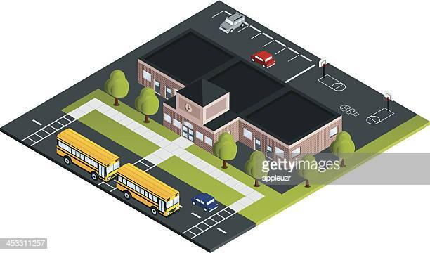 ilustraciones, imágenes clip art, dibujos animados e iconos de stock de con los autobuses escolares - edificio de escuela primaria