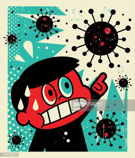 schoolboy points at the coronavirus (bacterium, virus) and gets a rude shock - avian flu virus stock illustrations