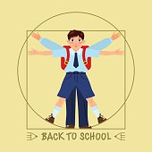 Schoolboy posed like Leonardo's Vitruvian man. Back to school.