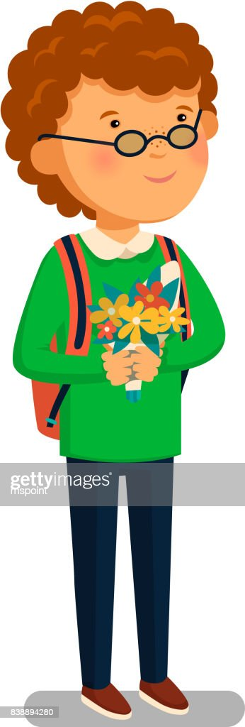 Schoolboy Vector Happy Schoolboy With Backpack Holding Bouquet Of