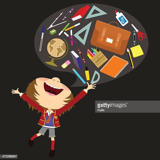 illustrations, cliparts, dessins animés et icônes de écolier garçon - première rentrée scolaire