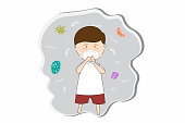 Schoolboy wear masks N95 to prevent air pollution in the city PM 2.5 in dust meter. Such as dust, smoke and smell Concept flat style vector illustration environmental impact.-EPS 10