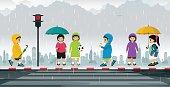 Schoolboy wearing raincoat