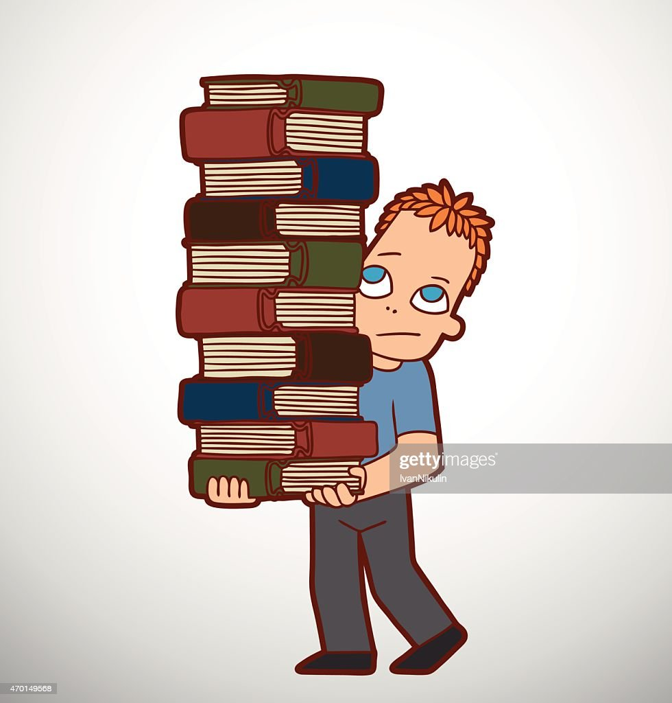 Schoolboy with huge pile of books