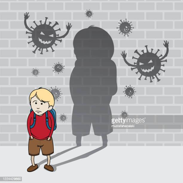 schoolboy with virus shadows - weakness stock illustrations