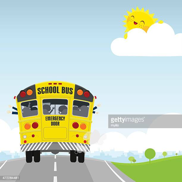 Schoolbus. Back to school, happy kids illustration