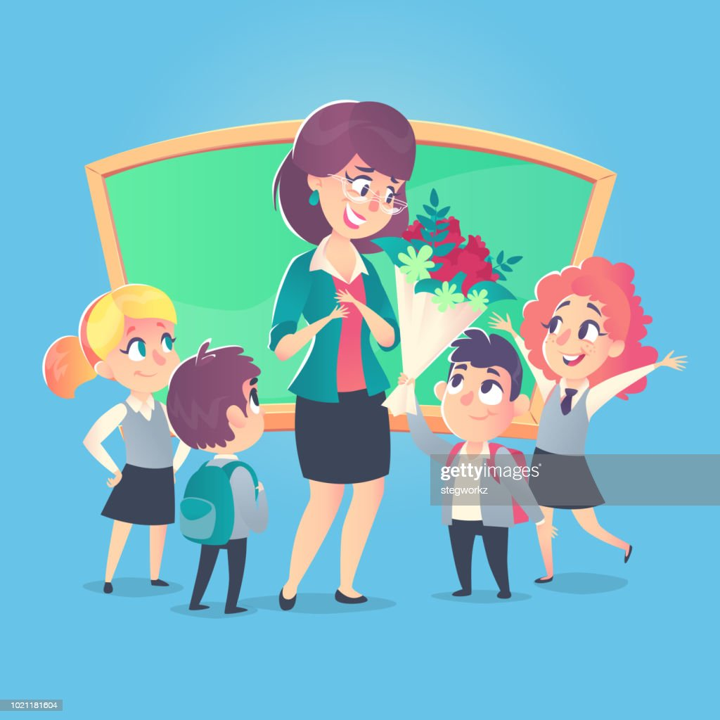 Schoolchildren give flowers to the happy teacher in classroom. Teacher's Day. Back to school.