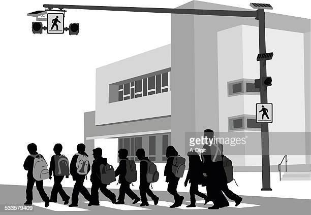 ilustraciones, imágenes clip art, dibujos animados e iconos de stock de schoolcrossing - edificio de escuela primaria