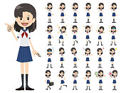 Schoolgirl charactor set. Various poses and emotions.