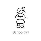 schoolgirl icon. Element of school icon for mobile concept and web apps. Thin line icon for website design and development, app development. Premium icon