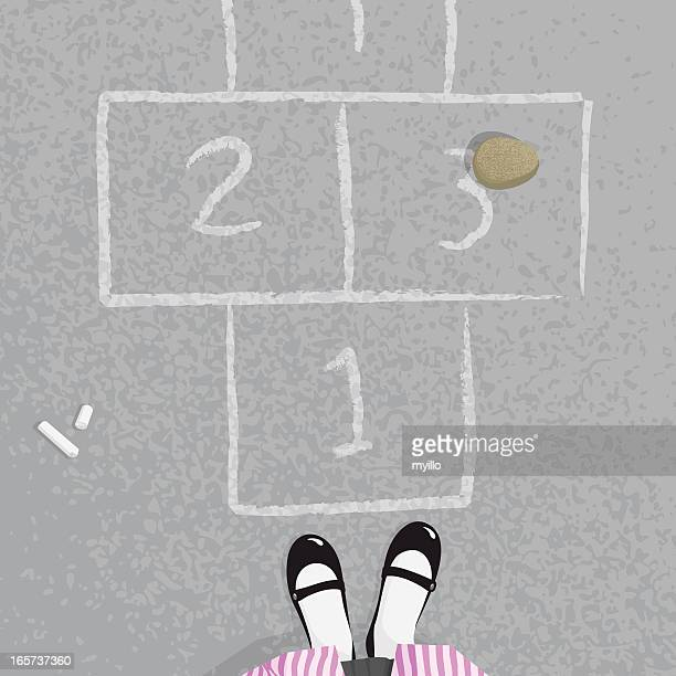 Schoolgirl playing hopscotch at the school illustration vector