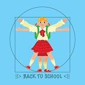 Schoolgirl posed like Leonardo's Vitruvian man. Back to school.
