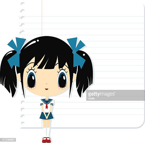 schoolgirl - school uniform stock illustrations, clip art, cartoons, & icons