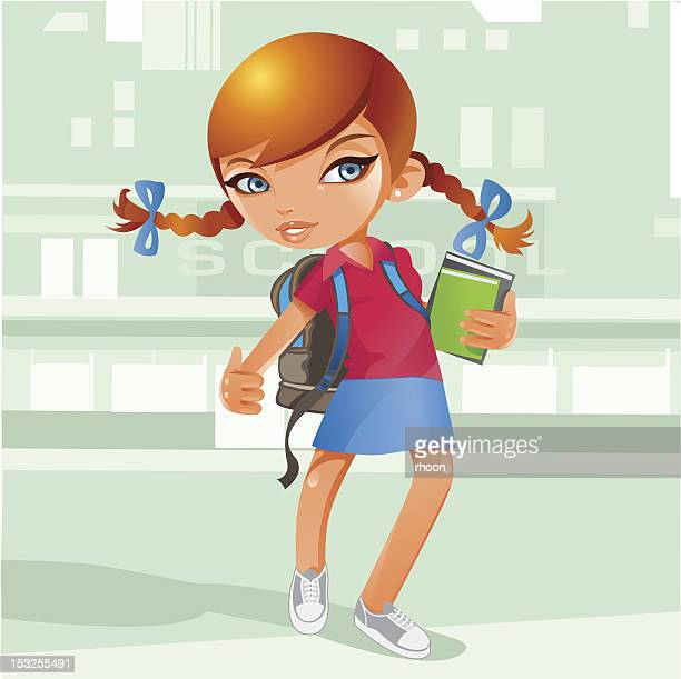 schoolgirl with books and back pack - one girl only stock illustrations, clip art, cartoons, & icons